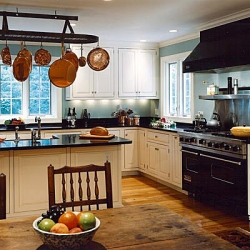 Kitchen remodeling with pot rack