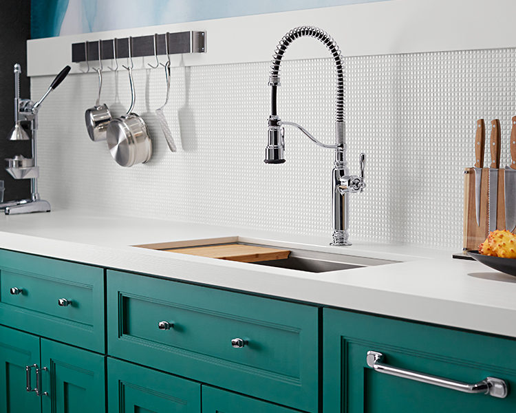 Commercial style faucet and sink