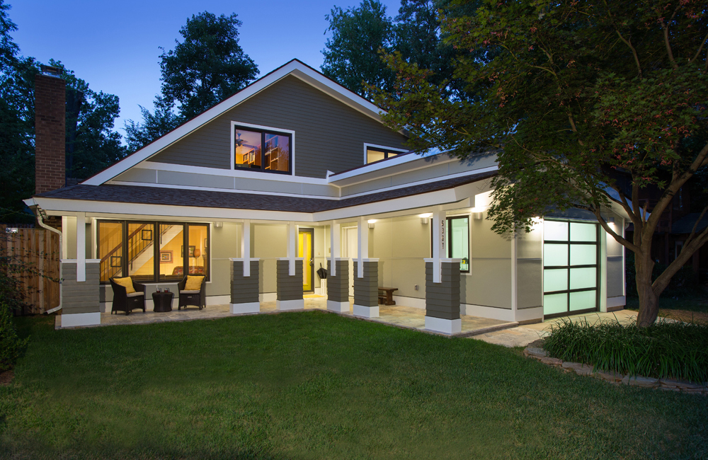 Award-winning remodeled home at night