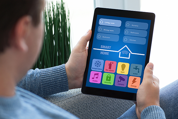 Smart home controls on a tablet