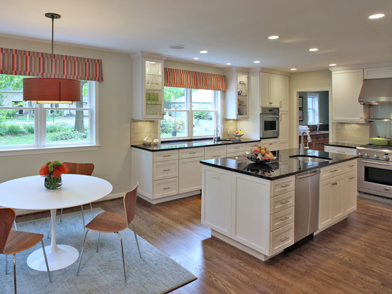 Example of whole-house remodeling: Kitchen and dining area photo