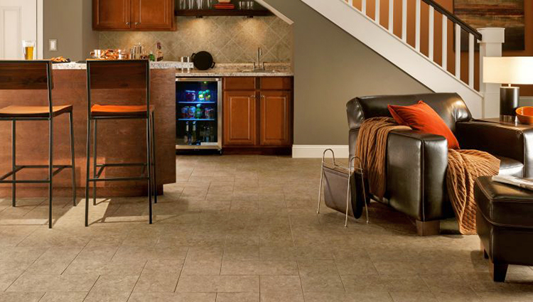 Engineered tile flooring in finished basement remodeling