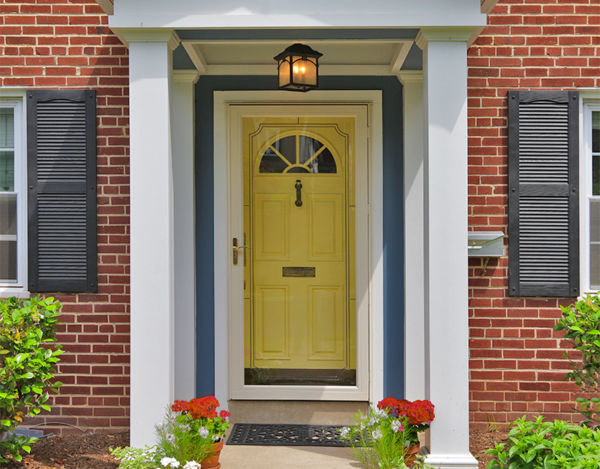 front door with yellow the selected color