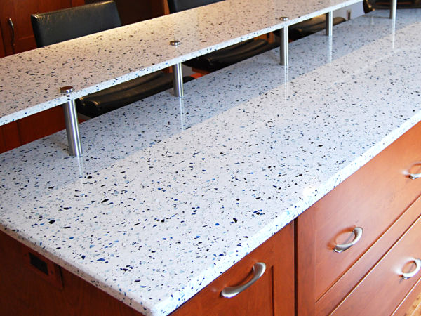 Recycled glass counter material