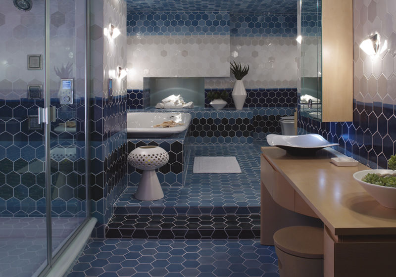 blue and white large bathroom