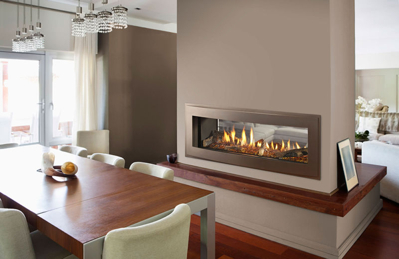 Two-sided gas fireplace idea