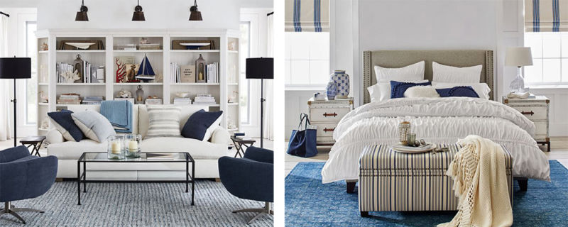 blue and white rooms by Pottery Barn