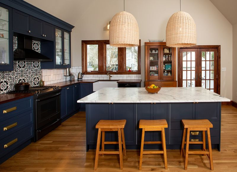 Blue custom kitchen with island